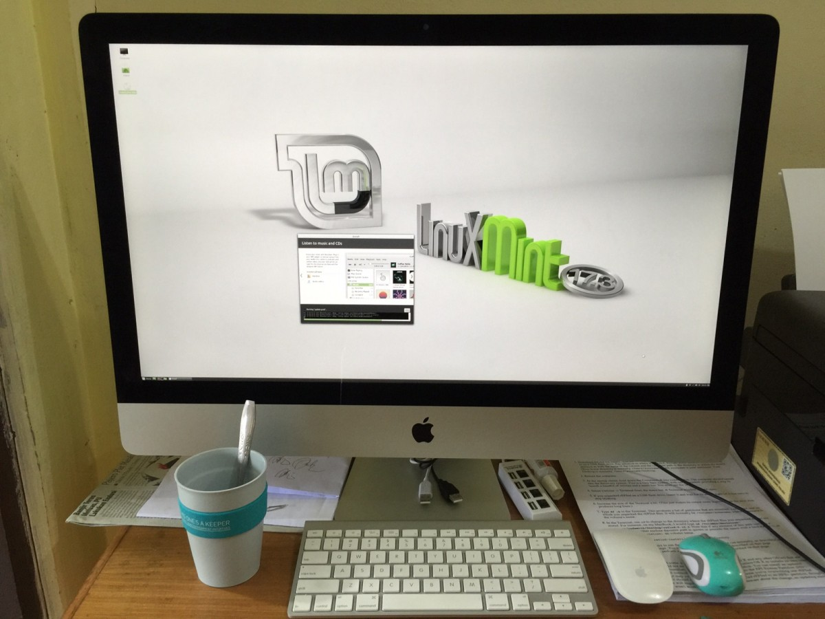 Install Linux Mint 17.3 Rosa versi Cinnamon Desktop di Apple 27-inch iMac with Retina 5K Display MF885